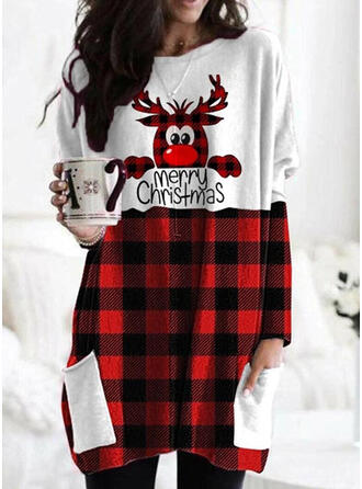 Print Color Block Grid Figure Round Neck Long Sleeves Christmas Sweatshirt