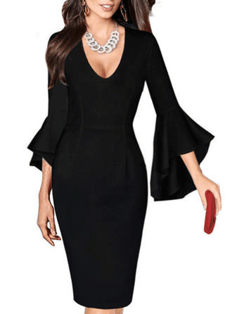 Solid Flare Sleeves Bodycon Knee Length Little Black/Sexy/Party/Elegant Dresses