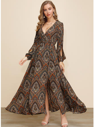 Print Long Sleeves/Split Sleeve A-line Maxi Casual/Boho/Vacation Dresses
