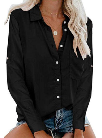 Solid Lapel Long Sleeves Button Up Casual Knit Shirt Blouses