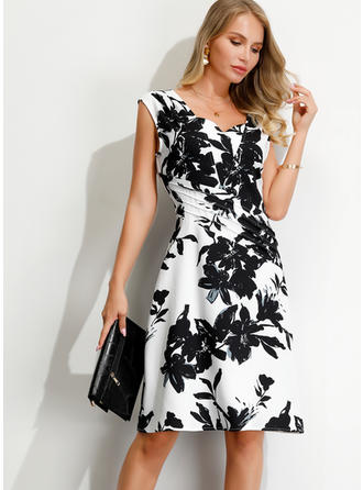 Print/Floral Sleeveless A-line Knee Length Party/Elegant Dresses