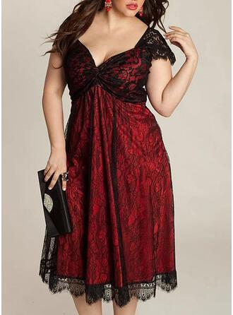 Lace Cap Sleeve A-line Casual/Party/Plus Size Midi Dresses