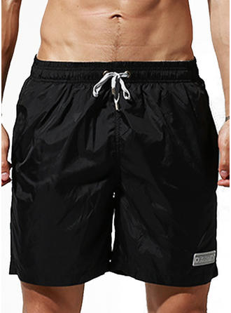 De Los Hombres Color sólido Cordón Pantalones cortos