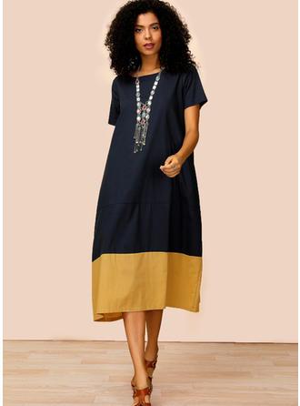 Wyszczuplająca Krótkie rękawy Koktajlowa Midi Casual Sukienki