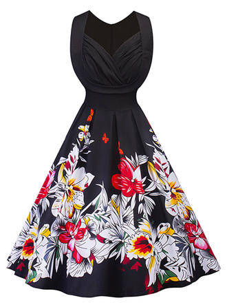 Floral V-neck Knee Length A-line Dress