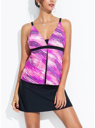 Colorful Strap Elegant Plus Size Tankinis Swimsuits