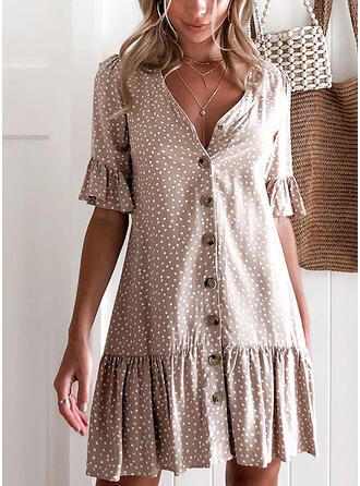 PolkaDot 1/2 Sleeves Shift Above Knee Casual Dresses