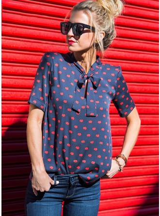 Chiffon Print Short Sleeves Shirt Blouses