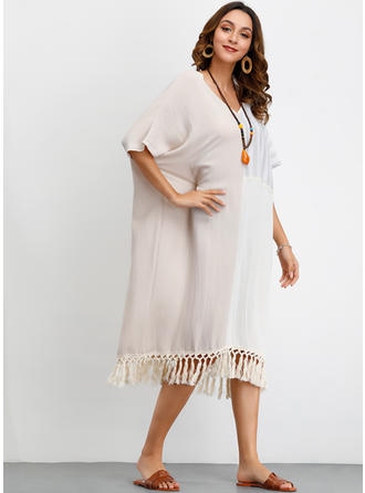 Color-block/Striped 1/2 Sleeves Shift Midi Casual/Vacation Dresses