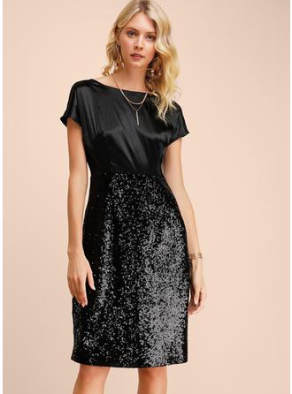 Paillettes/Couleur Unie Manches Courtes Fourreau Longueur Genou Petites Robes Noires/Fête/Élégante Robes