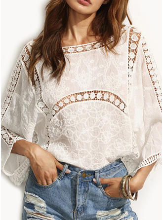 Lace Round Neck Plain Long Sleeves Casual Blouses