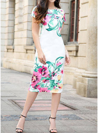 Floral Round Neck Knee Length Sheath Dress