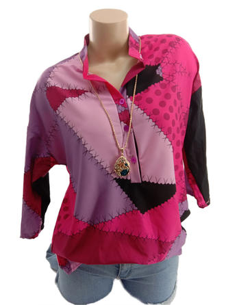Polyester V Neck Print 3/4 Sleeves Button Up Blouses