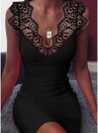Sólido Sin mangas Ajustado Sobre la Rodilla Pequeños Negros/Sexy Vestidos