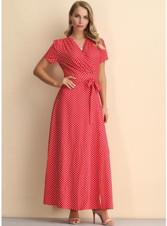 PolkaDot Short Sleeves A-line Maxi Casual/Elegant Dresses
