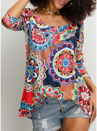 Print Floral Round Neck 3/4 Sleeves Button Up Casual T-shirts