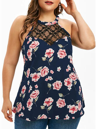 Print Floral Cold Shoulder Sleeveless Sexy Plus Size Blouses