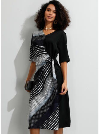 Print/Patchwork 1/2 Sleeves Sheath Midi Party/Elegant Dresses