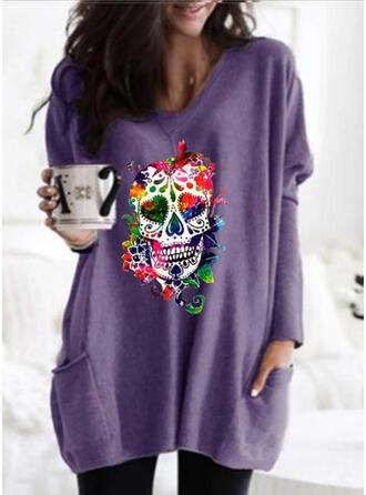 Print Halloween Lommer rund hals Lange ærmer Sweatshirts