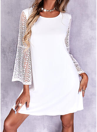 Egyszínű Δαντέλα Hosszú ujjú flare μανίκι Shift Térd feletti Κομψός φορέματα