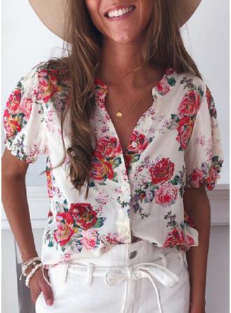 Nadruk Kwiatowy Dekolt w kształcie litery V Krótkie rękawy Zapięcie na guzik Casual Bluski koszulowe