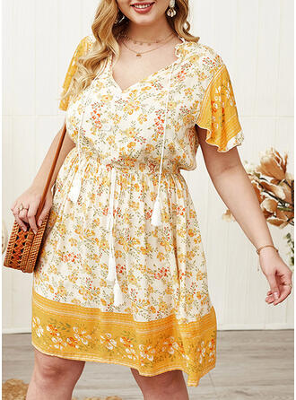 Print/Floral Short Sleeves A-line Knee Length Casual/Boho/Vacation/Plus Size Dresses