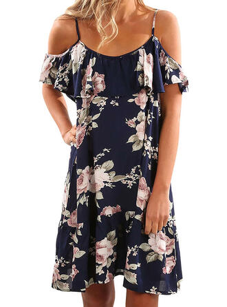 Print/Floral Cold Shoulder Sleeve Shift Above Knee Casual/Vacation Dresses