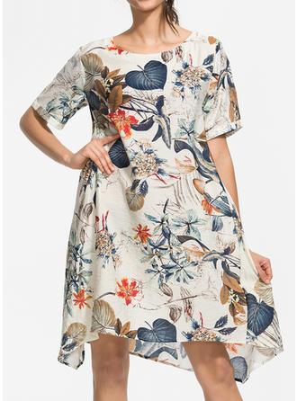 Print/Floral Short Sleeves Shift Knee Length Casual/Boho Dresses