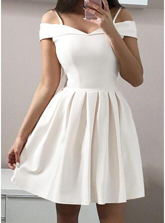 Solid Short Sleeves A-line Knee Length Party/Elegant Dresses (199288051)