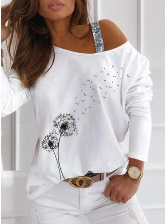 Print Sequins Dandelion One-Shoulder Long Sleeves Casual Blouses