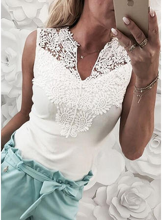 Solid Lace V-neck Sleeveless Casual Knit Blouses