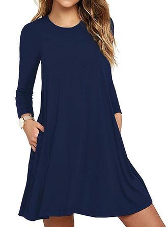 Jednolita Długie rękawy Koktajlowa Nad kolana Casual Sukienki