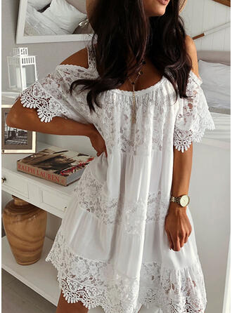 Lace/Solid Short Sleeves/Cold Shoulder Sleeve Shift Above Knee Elegant Dresses