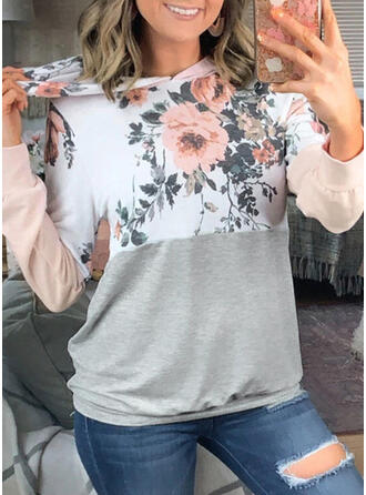 Nyomtatás Virágos Dlouhé rukávy Kapuce