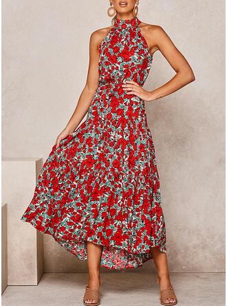 Print/Floral Sleeveless A-line Casual/Elegant/Vacation Midi Dresses