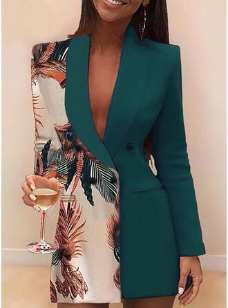 Impresión Manga Larga Cubierta Sobre la Rodilla Casual/Elegante Vestidos