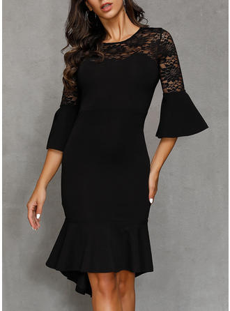 Lace/Solid 3/4 Sleeves/Flare Sleeves Bodycon Knee Length Little Black/Party/Elegant Dresses
