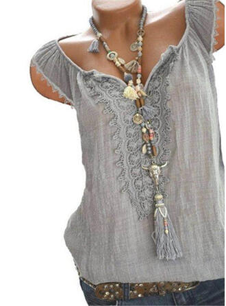 Solid Lace V-Neck Sleeveless Casual Blouses