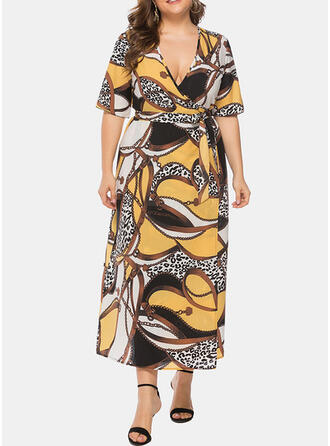 Print 1/2 Sleeves A-line Casual/Plus Size Midi Dresses