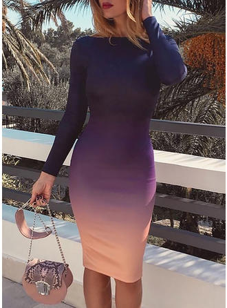 Color-block Long Sleeves Bodycon Knee Length Sexy/Party Dresses