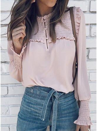 Einfarbig Rundhalsausschnitt Lange Ärmel Laterne Hülse Lässige Kleidung Blusen