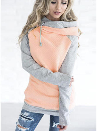 Cotton Polyester Color Block Hoodie