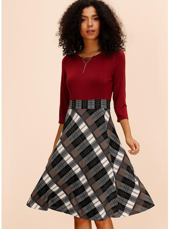 Plaid 3/4 Sleeves A-line Knee Length Casual/Elegant Dresses