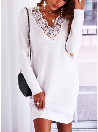 Jednolity Koronka Dekolt w kształcie litery V Sukienka sweterkowa