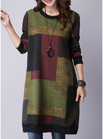 Color-block/Patchwork Long Sleeves Shift Knee Length Sweater/Casual Dresses