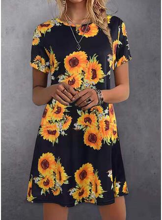 Print/Sunflower Print Short Sleeves Shift Above Knee Casual Dresses