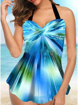 Splice color Gradient Halter Beautiful Casual Swimdresses Swimsuits