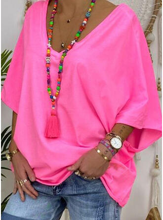 Solid V-Neck 3/4 Sleeves T-shirts