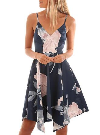 Nadrukowana/Kwiatowy Bez rękawów W kształcie litery A Długośc do kolan Seksowna/Casual/Wakacyjna Sukienki