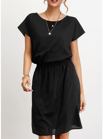 Solide Korte Mouwen A-lijn Knielengte Zwart jurkje/Casual/Elegant Jurken